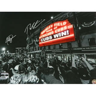 Theo Epstein  Jed Hoyer Dual Chicago Cubs Wrigley Field Marquee Cubs Win Spotlight 16x20 Photo