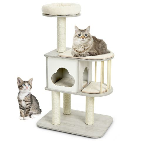 """46 Inch Wooden Cat Activity Tree with Platform and Cushions-Gray - 27"""" x 19"""" x 46"""" (L x W x H)"""