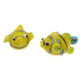 Lampwork Glass Novelty Beads, Striped Clown Fish 15.5mm, 2 Pieces, Yellow and Teal Blue