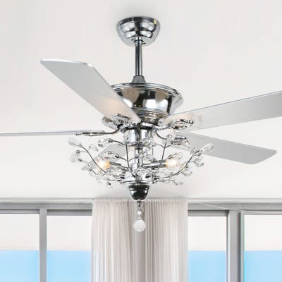 52-inch Chrome 5-Blade Reversible Branches Crystal Ceiling Fan