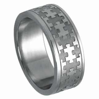 Steel Ring For Autism Awareness with Laser Cut Puzzle Piece Design - Silver