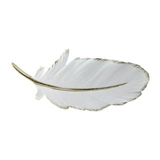 16 Gilded White Christmas Feather Shaped Plaque Wall Decor Accent