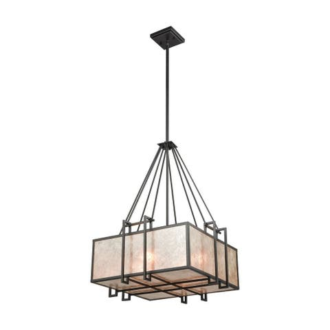 Geometric Style Four Light Chandelier with Panels of Neutral-Toned Mica Oil Rubbed Bronze Finish