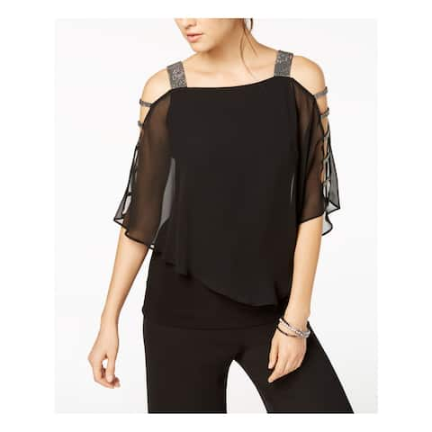 MSK Womens Black 3/4 Sleeve Square Neck Evening Top Size PM