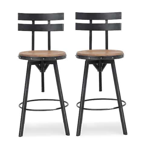 Jutte Modern Industrial Firwood Adjustable Height Swivel Barstools (Set of 2) by Christopher Knight Home