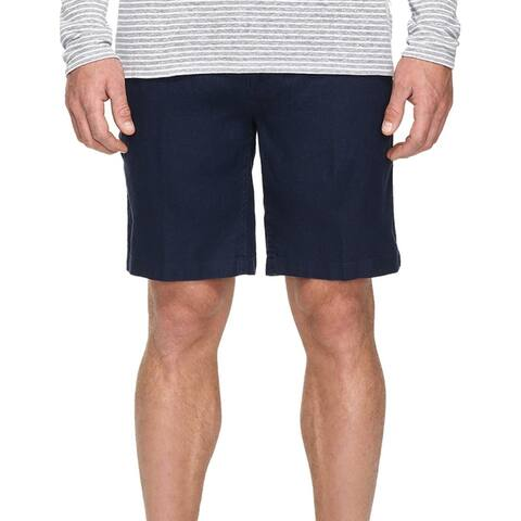 Onia Mens Shorts Deep Navy Blue Size 34 Solid Flat-Front Classic-Fit