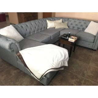 Knightsbridge Tufted Scroll Arm Chesterfield U-Shape Sectional with Chaise by iNSPIRE Q Artisan