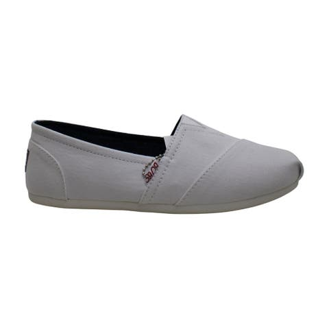 Skechers BOBS Women's Bobs Plush-Peace & Love Ballet Flat, White Red Navy, 7 Wide