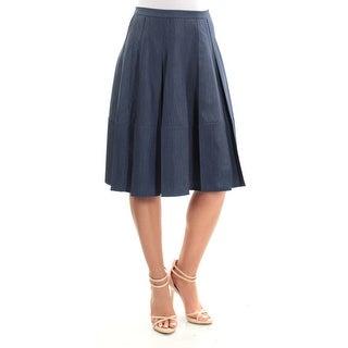 Womens Navy Below The Knee Paneled Skirt Size 2XS
