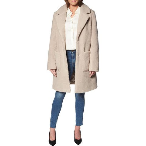 French Connection Teddy Faux Shearling Coat for Women-Open Front Lapel Midi Coat