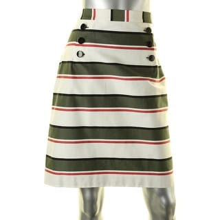 Nine West Womens Straight Skirt Striped Button Detail