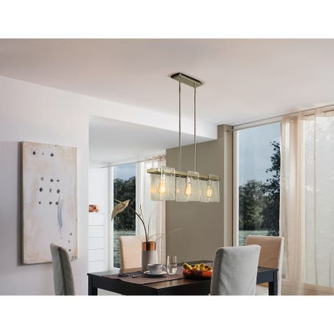 Eglo Wolter 3-Light 35 inch Polished Nickel Linear Pendant