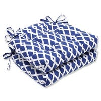 """Set of 2 Cascading Diamonds Navy Blue and White Reversible Chair Cushion 16"""""""