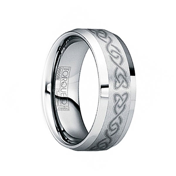 HADRIANUS Beveled & Polished Tungsten Wedding Band with Engraved Celtic Motif by Crown Ring