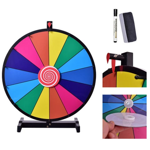 Costway 24'' Tabletop Editable Dry Erase Color Prize Wheel 14 Slot Fortune Spinning Game