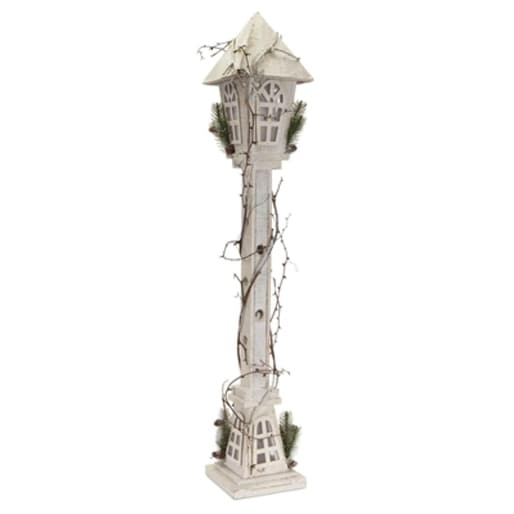 """Pack of 2 Pre-Lit Wooden Birdhouse Lamp Post with Twigs Christmas Decorations 39"""" - Clear LED Lights"""