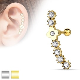 Flower Centered Lined CZ Set 316L Surgical Steel Cartilage/Tragus Barbell (Sold Ind.)