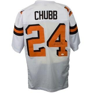 Nick Chubb Signed White Custom Pro Style Football Jersey JSA
