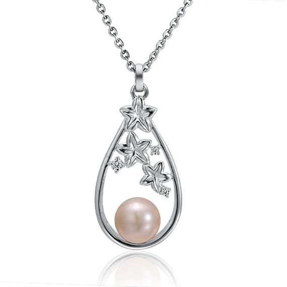 "Pearl Necklace Stars Sterling Silver Pendant 18"" Chain"