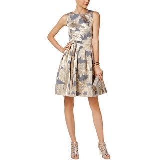 Tommy Hilfiger Womens Party Dress Metallic Floral Print