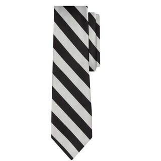 Jacob Alexander Stripe Woven Boys Regular College Striped Tie (Option: Silver Black)
