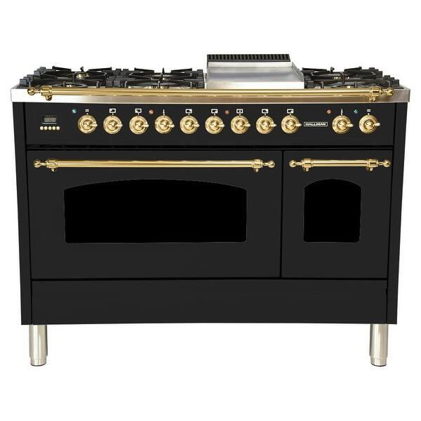 Shop Hallman 48 Inch Glossy Black Dual Fuel Italian Range Overstock 22888945