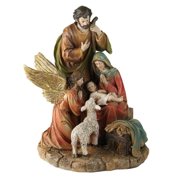 """13.75"""" Holy Family with Gloria the Angel and Lamb Religious Christmas Figure"""