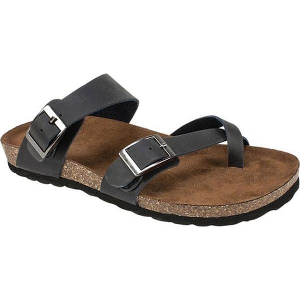 28de97d6a5d0 Shop White Mountain Women's Gracie Toe Loop Sandal Black Leather ...