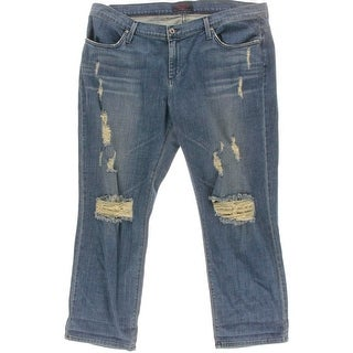 James Jeans Womens Destroyed Mid-Rise Straight Leg Jeans - 16