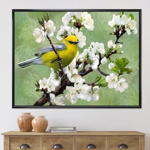 Designart 'Bird on A Branch of Cherry' Traditional Framed Canvas Wall Art Print