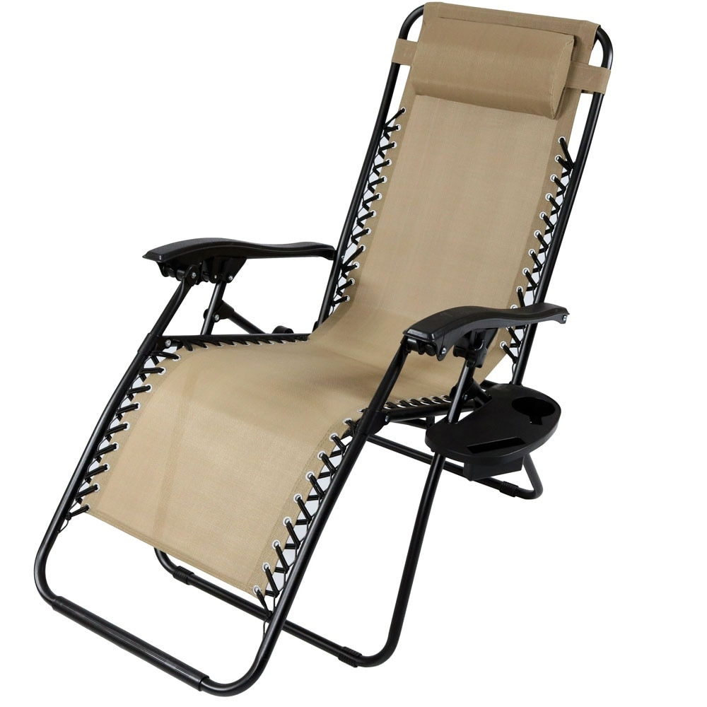 Shop Sunnydaze Zero Gravity Lounge Chair With Pillow And