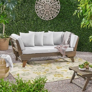 Link to Ottavio Outdoor Wood Daybed with Cushions by Christopher Knight Home Similar Items in Outdoor Sofas, Chairs & Sectionals