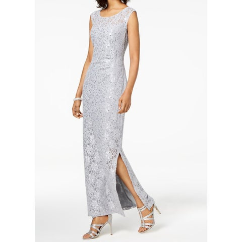 Connected Apparel Womens Lace Sequinced Sheath Dress