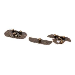 Jewelry Box Case Zinc Alloy Vintage Latch Hasp Lock Clasp Bronze Tone 2pcs