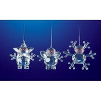 "Club Pack of 18 Icy Crystal Decorative Christmas Snowmen w/ Arms Ornaments 3.3"" - CLEAR"