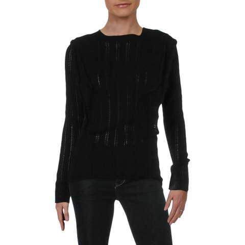 Aqua Womens Pullover Sweater Cashmere Ruffled