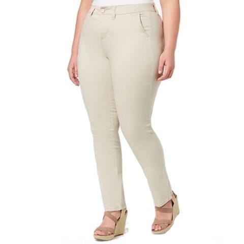Celebrity Pink Womens Beige Size 16 Plus Straight Four Pocket Stretch