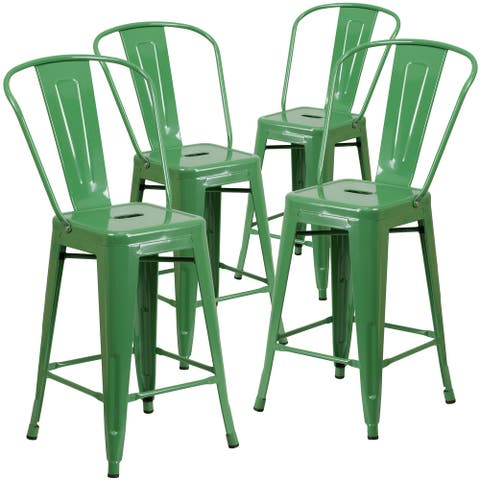 "4PK 24"" High Metal Indoor-Outdoor Counter Height Stool with Back"