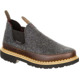 "Georgia Boot Children's GB00215Y 4"" Giant Pendleton Romeo Work Shoe Charcoal/Grey Pendleton Wool/Full Grain Leather"