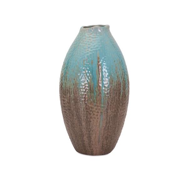 IMAX Home 10511 Outer Banks Medium Ceramic Vase by Trisha Yearwood - Blue