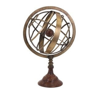 """19"""" Old World Style Antique Brass and Wood Armillary Globe"""