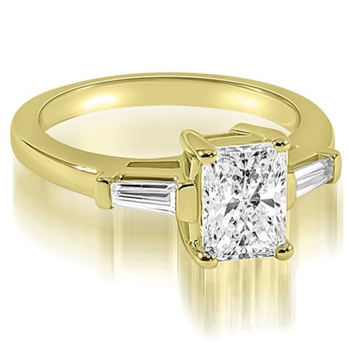 0.75 cttw. 14K Yellow Gold Emerald Baguette Three Stone Diamond Engagement Ring
