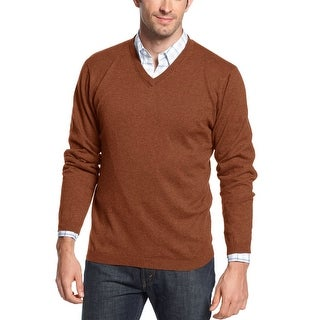 Weatherproof Vintage Rust Orange Cotton Cashmere V-Neck Sweater X-Large - XL