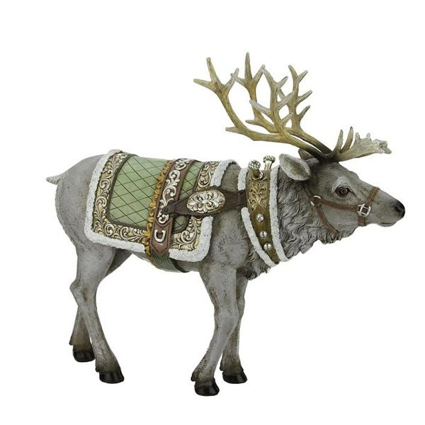 """14.5"""" Gray Reindeer with Gold and Green Saddle Blanket Christmas Figure"""