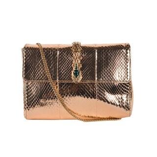 Roberto Cavalli Gold Metallic Snake Embossed Serpent Clutch Shoulder Bag