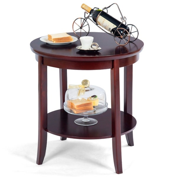 shop gymax round wood end table sofa side coffee table storage shelf cherry finish cheery. Black Bedroom Furniture Sets. Home Design Ideas