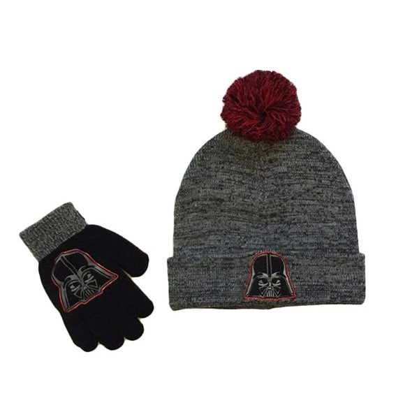 d1b67c15e Disney Star Wars Boys Darth Vader Winter Set Pom Beanie Hat Gloves Gray/Red  OS - Black/Grey - boys one size