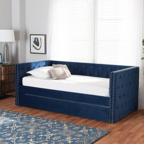 Larkin Modern Velvet Fabric Upholstered Daybed with Trundle