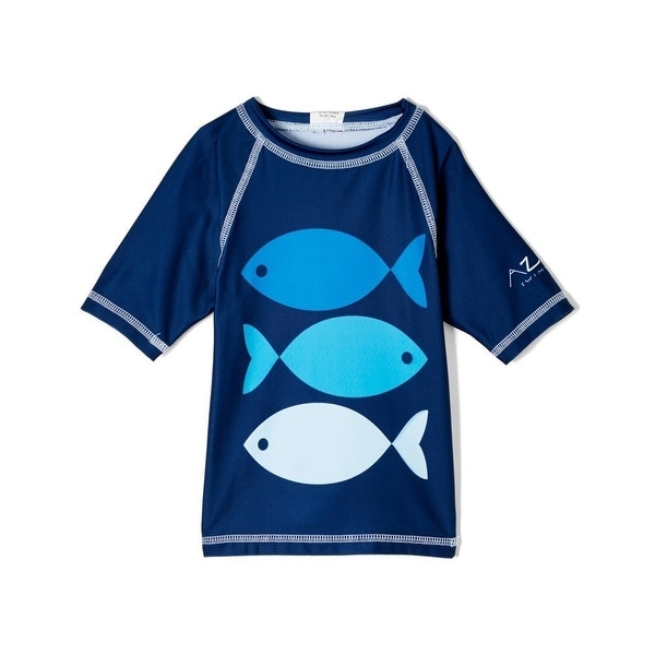 Azul Baby Boys Navy Blue Go Fish Print Short Sleeve Rash Guard