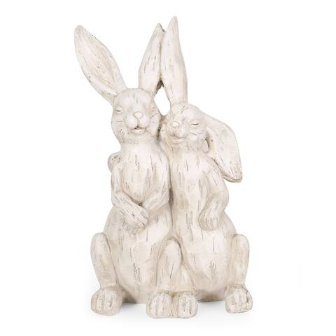 Morella Outdoor Cast Stone Outdoor Rabbit Couple Garden Statue by Christopher Knight Home